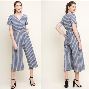 Umgee Navy Stripe Short Sleeve Wide Leg Jumpsuit
